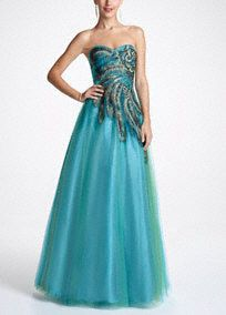 Cinderella has nothing on you in this stunning, billowing eye-catcher! We love the peacock-inspired colors! #prom2013 #prom #davidsbridal #davidsbridalrom #promdresses