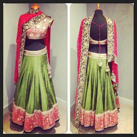 a beautiful green and magenta ghagra choli