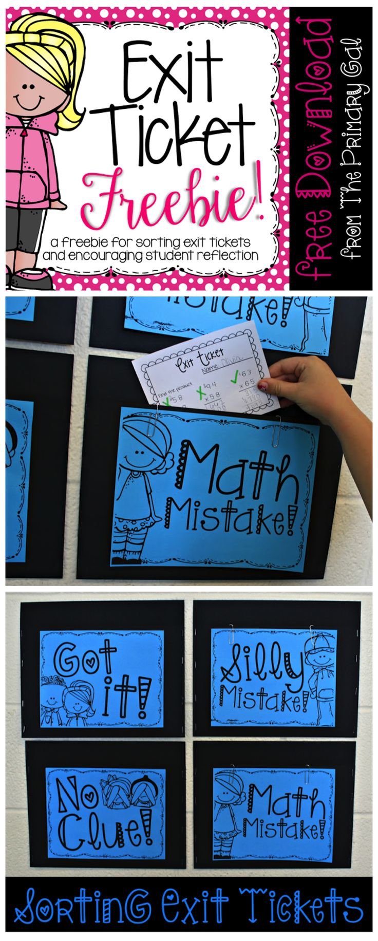 Looking for a FREE Exit Ticket Template for an Exit Ticket Sorting Board? I love having my students reflect on their thinking by sorting their own Exit Tickets each day.