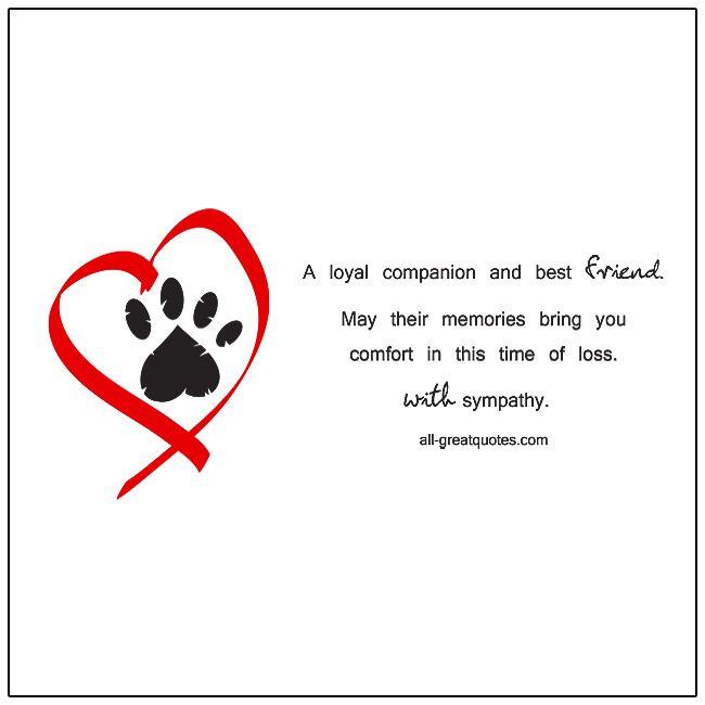 A Loyal Companion And Best Friend Pet Sympathy Pet Sympathy Cards Sympathy Cards