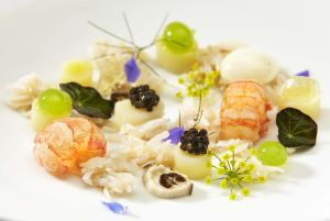 Langoustine starter http://legallyedible.wordpress.com/2013/05/02/two-michelin-starred-chef-michael-wignall-unveils-london-pop-up-at-the-rib-room-bar-restaurant/