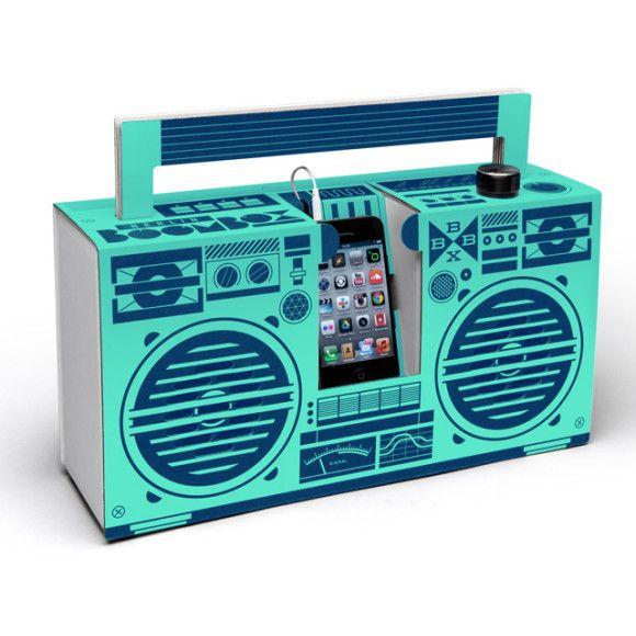 Berlin Boombox mobile cardboard speaker in mint | hardtofind.