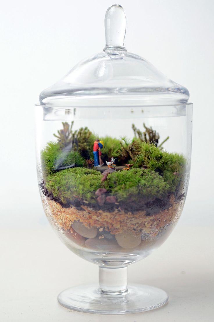 Moss terrarium // Little People // Woodland Lovers 1 // Apothecary Jar Planter // Living Home Decor // Indoor Garden // Gift Ideas. $70.00, via Etsy.