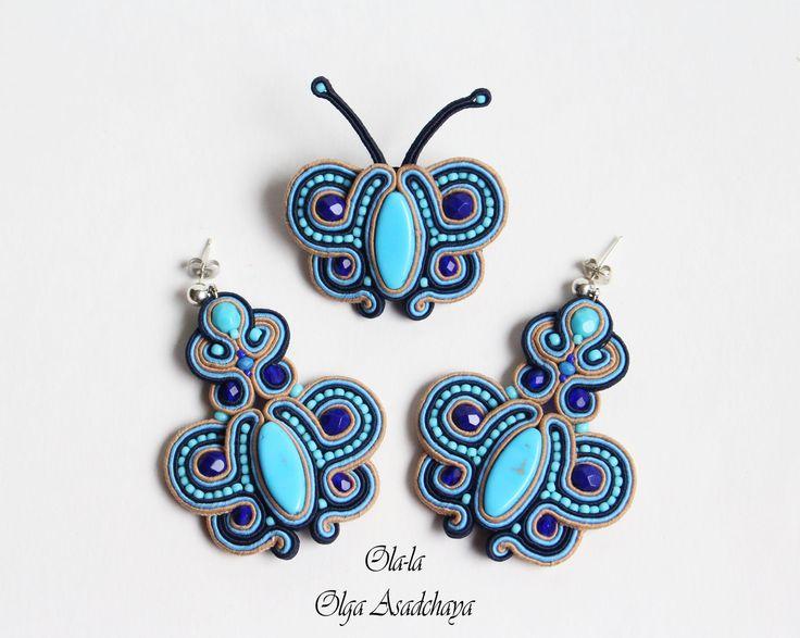 "Clutch, necklaces, earrings and brooch ""Blue Lagoon"" soutache, ekokozha, Czech glass beads, crystal beads, Japanese beads."