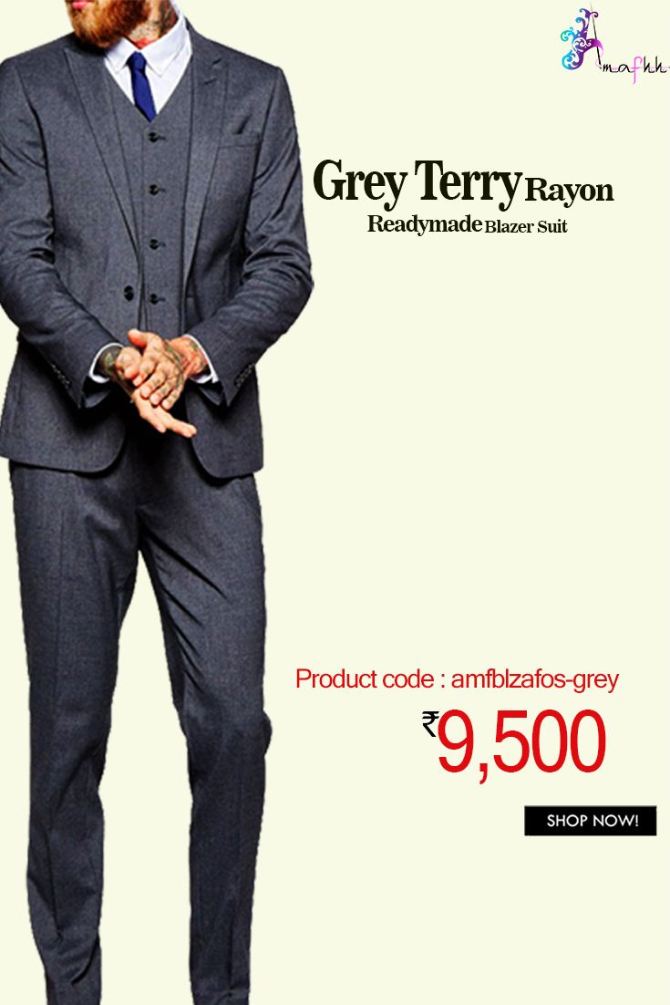 Grey Terry Rayon #BlazerSuit #stylish pick to redefined your fashion palate and grooming sense.This blazer suit is high #fashion and is just the way a guy will love to wear and carry himself in the correct attitude #indowestern #menswear #stylish #fashion #onlineshopping #ehtnicwear #brands #menswear #trending #latestcollection #blazer #blazersuit #designerblazer