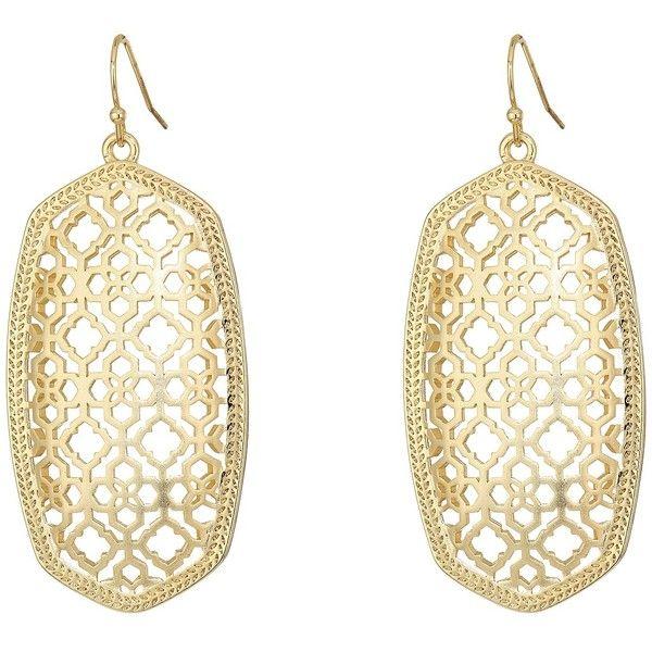 Kendra Scott Danielle Earring (Gold Filigree Metal) Earring ($70) ❤ liked on Polyvore featuring jewelry, earrings, yellow gold earrings, filigree earrings, gold jewelry, gold filigree earrings and metal jewelry