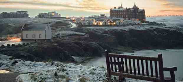 The Headland Hotel, Newquay - in snow From www.Headlandhotel.co.uk