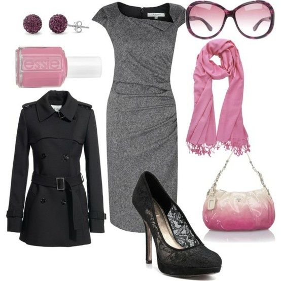 Tiffanys...: Shoes, Work Clothing, Color, Work Outfits, The Dresses, Pink And Gray, Pink Accent, Grey Dresses, Gray Dresses