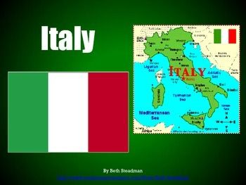 This is a basic PowerPoint presentation about the country of Italy (location, population, geography, landmarks, language, currency, sports and games, holidays, food, animals, clothing, fun facts, etc.).This download includes a zipped folder containing both the PDF file and the PPT file for this product.Check out my store for more wonderful presentations about other countries!