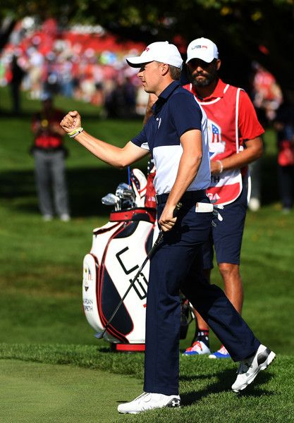 Jordan Spieth of the United States reacts to a putt on the first green during singles matches of the 2016 Ryder Cup at Hazeltine National Golf Club on October 2, 2016 in Chaska, Minnesota.