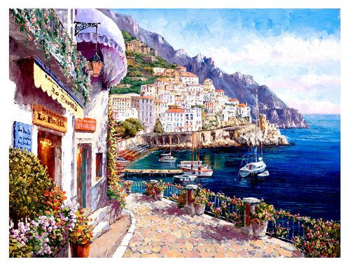 SAM PARK - AMALFI AFTERNOON. Limited Edition Giclee on canvas. For more info contact Sienna Fine Art. www.siennafineart.com