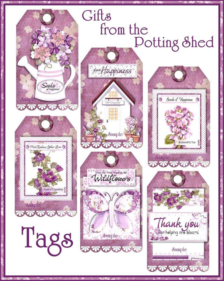 Gifts from the Potting Shed Country Inspirational Tag Set U-PRINT Digital Download Printable