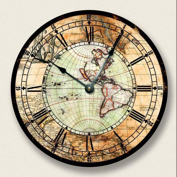 Antique Map Wall Clock Western Hemisphere Old World Look Etsy In 2020 Antique Map Wall Clock Design Vintage Wall Clock