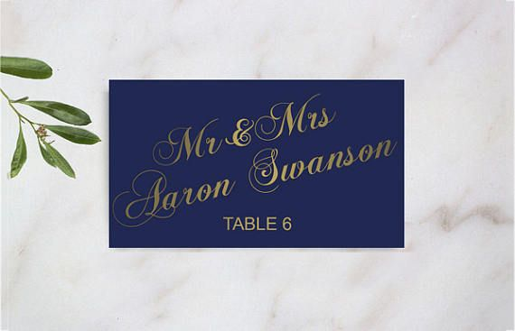 Wedding Place Card Printed Navy Gold Glitter Unique Reception Escort Card vintage elegant nautical ball navy blue and gold calligraphy Etsy gethappydesign