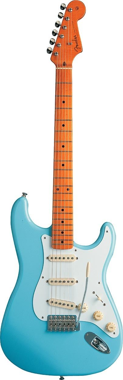 "A thing of beauty. Used by artists such as Jeff Beck to Eric Clapton the bridge on this guitar ""floats"" allowing the musician to bend the notes while playing. Lennon and Harrison acquired Fender Stratocasters in 1965 and used them extensively in the recording of Rubber Soul"