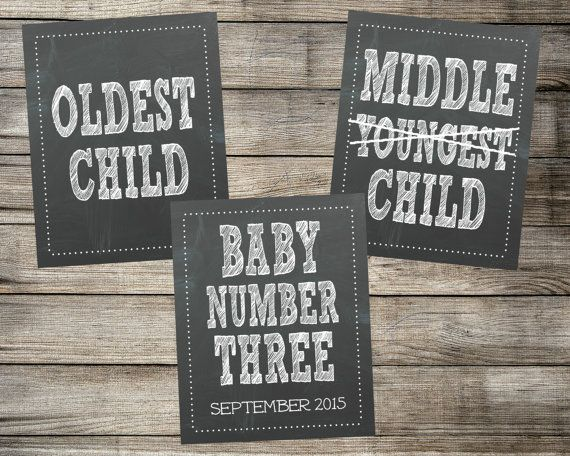 Set of 3 Chalkboard Pregnancy Announcement Photo Props - Oldest, Middle, Youngest - Printable Signs