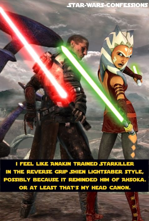 This is absolutely too much. I never thought of this.. But then again, Anakin never taught Ahsoka to use her lightsabers that way. But still. THIS IS WHY I LOVE STAR WARS!