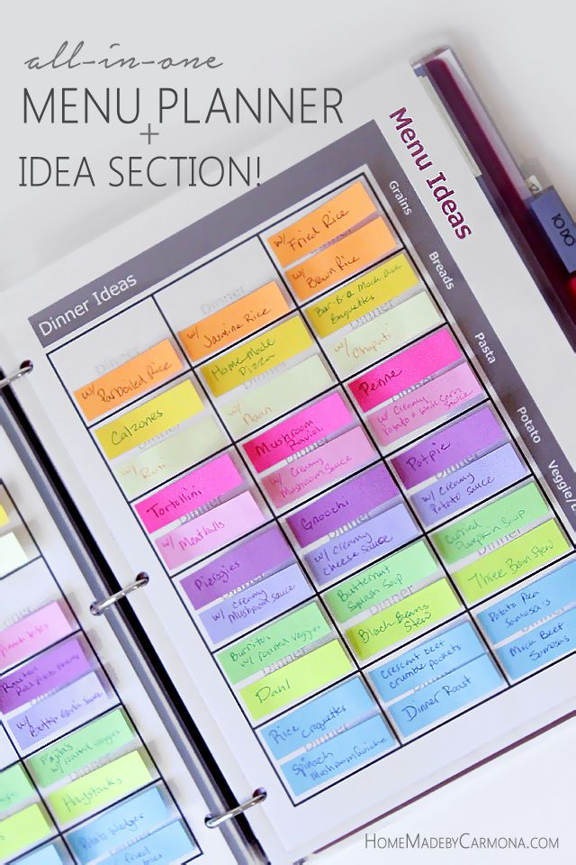menu planning made easy with sticky notes and a binder, Home Made by Carmona