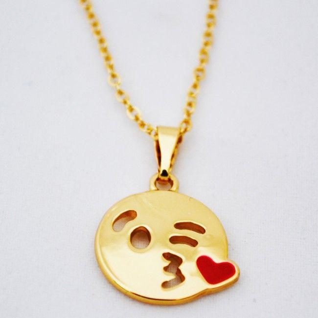 Gold Kiss Emoji Necklace