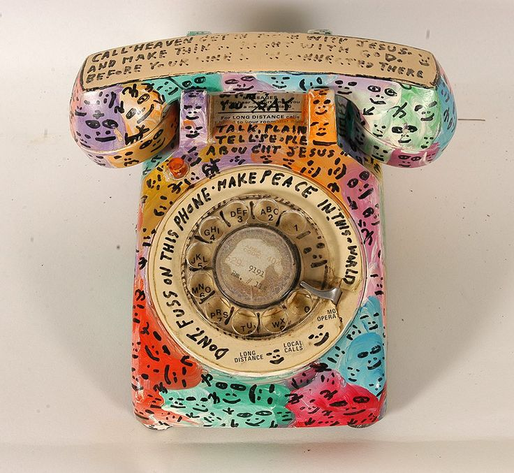Howard Finster. Don't Fuss On This Phone, #14,286. 1990. Paint and marker on rotary phone.Slotin Folk Art     Delta Blues To Visual Blues - Day 1