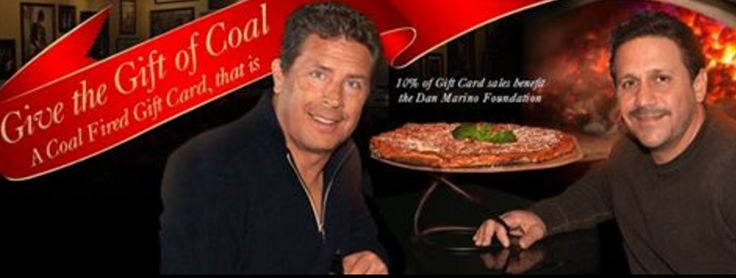 Looking for the perfect gift? An Anthony's Coal Fired Pizza Gift Card is always the perfect size and color. Give the Gift of Coal and support Dan Marino Foundation ! #GiftOfCoal.