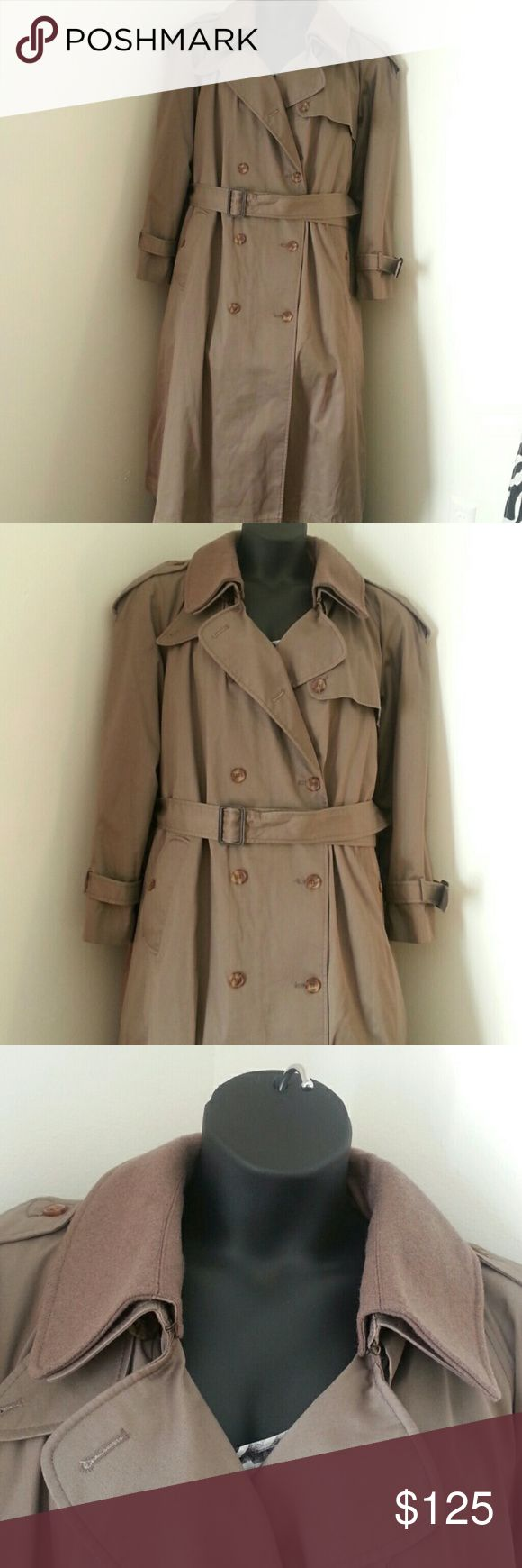 Ladies Worthington Double Breasted Trench Coat Ladie Worthington Double Breasted Trench Coat- Beige khaki color, Full length, Size 22W,Belt, Removable lining and collar, Left side pocket loop ripped off and small rip in area where loop goes. Loop is attached to belt and coat w/safety pin to prevent loss. The right side belt loop is properly intact...(See pics) Clasp near collar is loose (see pic) Extra button not attached but placed inside pocket to prevent loss.(see pic) GREAT CONDITION…