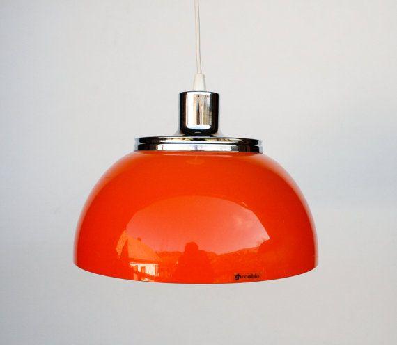 Atomic Ceiling Light / Orange Space Age Ceiling Lamp Pendant Lamp / 60's 70's Retro Home Decor