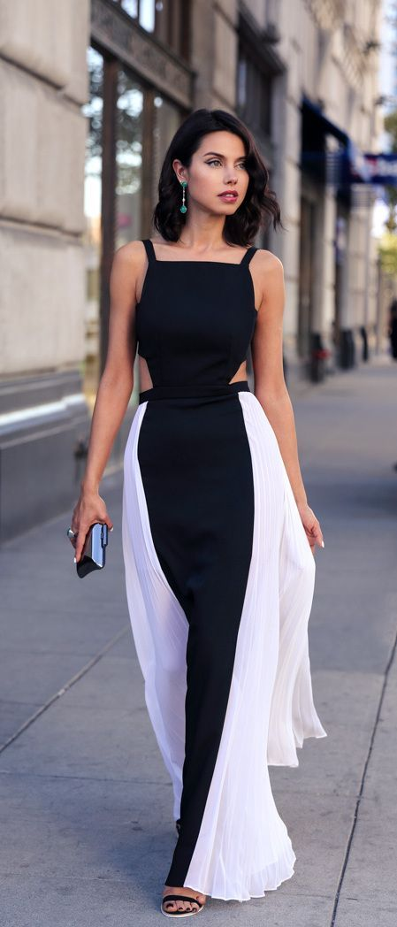 Spaghetti-strap black and white evening dress with cut-outs