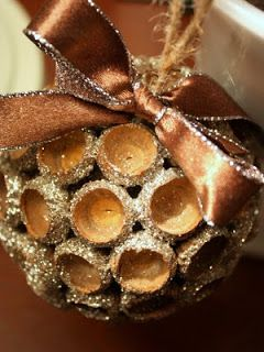 DIY Ornaments~      Acorn caps free, Paint on hand, Styrofoam ball on hand, $1     Twine on hand or $1 Wire on hand,     Ribbon on hand, Glitter on hand, Mod Podge on hand, Hot glue on hand