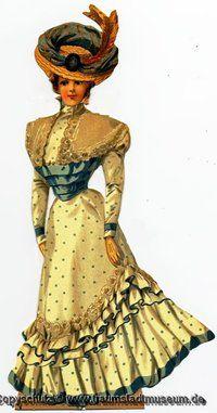 Brautjungfer Viktorianische Luxus-Anziehpuppe Papierpuppe Paperdoll Replic 1890 Raphael Tuck