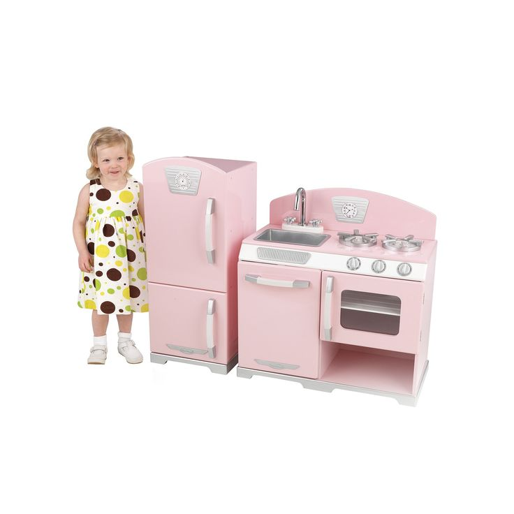 KidKraft Retro Kitchen & Refrigerator Play Set, Pink