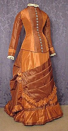 Silk taffeta gown, c.1876'); return false