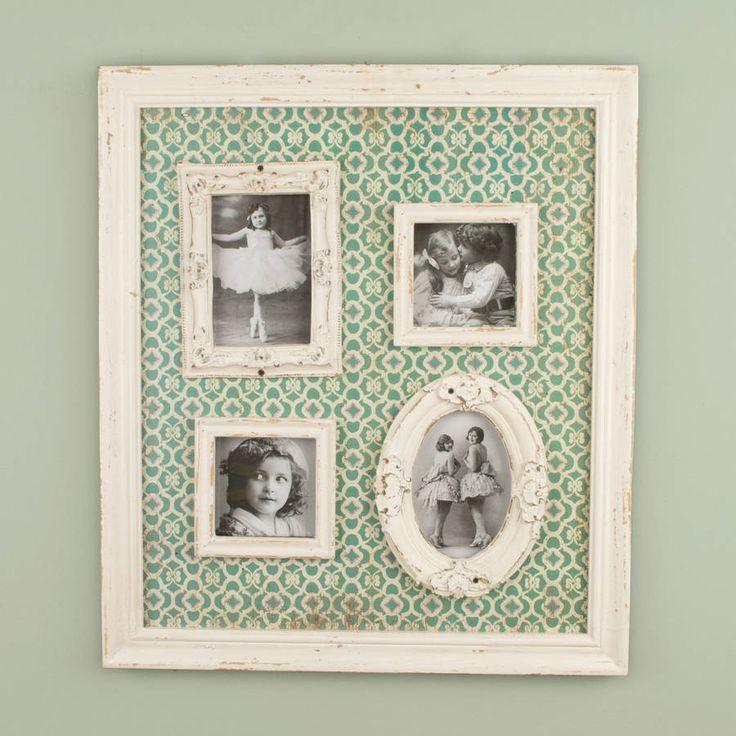 Vintage Green Distressed Multi Photo Frame Display