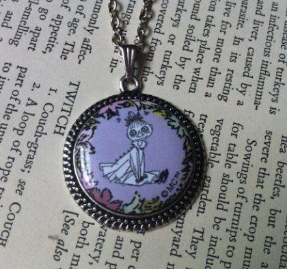 Antique Silver Moomin Themed Necklace // Little My via Etsy