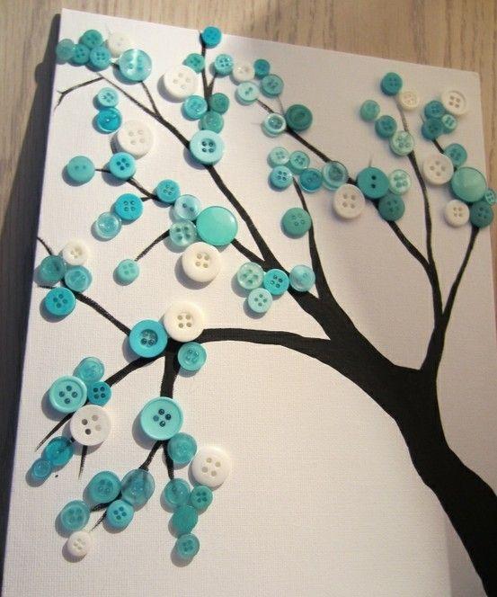 ButtonsCherries Blossoms, Button Art, Crafts Ideas, Buttons Art, Canvas, Buttons Trees, Shades Of Green, Diy, Room