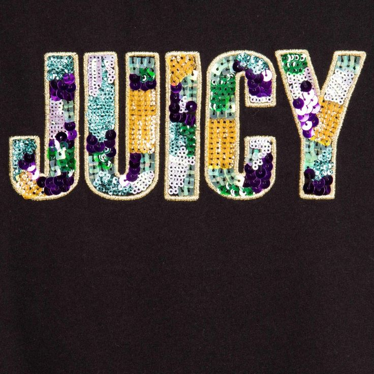 Juicy Couture - Girls Black T-Shirt with Sequin Logo | Childrensalon