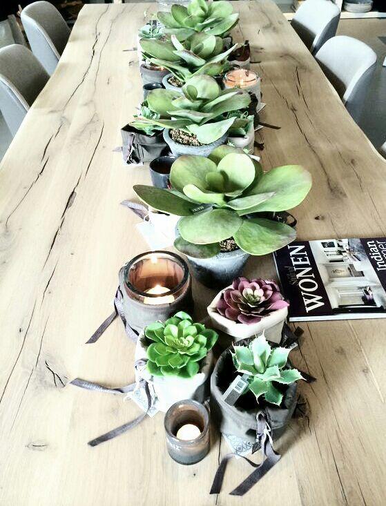 Zusss meets Silkka met Nix design bij Pieters Zevenbergen... Produkten die elkaar aanvullen en veel sfeer maken, de stoere tafel van Nix Design, eigenwijze mandjes van Zusss en cactussen/vetplanten van Silk-ka die niet van echt te onderscheiden zijn..