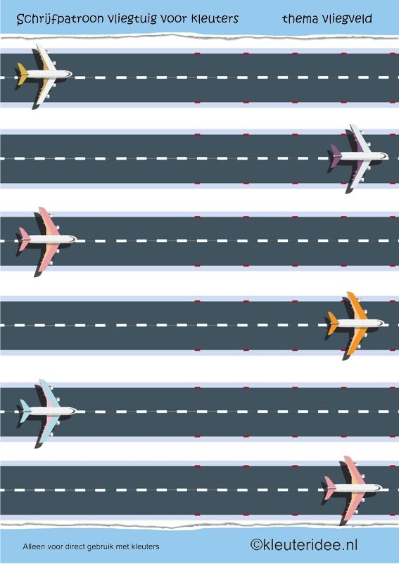 Schrijfpatroon vliegtuig voor kleuters, thema vliegveld, juf Petra van kleuteridee, preschool writing pattern aeroplane, free printable