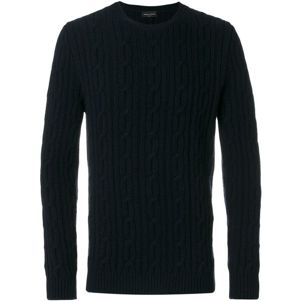 Roberto Collina cable knit jumper (1.155 BRL) ❤ liked on Polyvore featuring men's fashion, men's clothing, men's sweaters, blue, mens cable knit sweater, mens blue sweater, mens cable sweater and mens chunky cable knit sweater