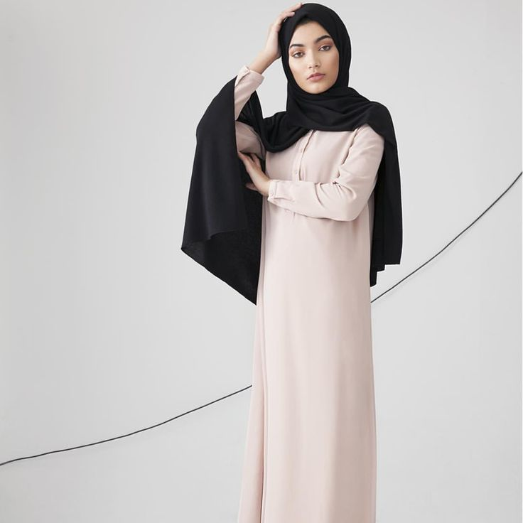 INAYAH | All of our abayas and maxi dresses are available in multiple lengths and sizes in order to promote and deliver confident fashion - Mushroom Classic #Shirt #Abaya with #Flare + Black #Rayon #Blend Jersey #Hijab - to be restocked soon + Medium Nude Soft Cotton #Scrunchy www.inayah.co