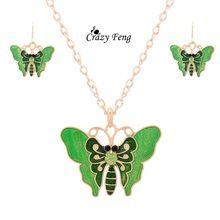 Szalony Feng Darmowa wysyłka Promocje nowe pozłacane kolorowe butterfly kształt kolczyki i wisiorek naszyjnik emalia biżuteria ustaw(China (Mainland))