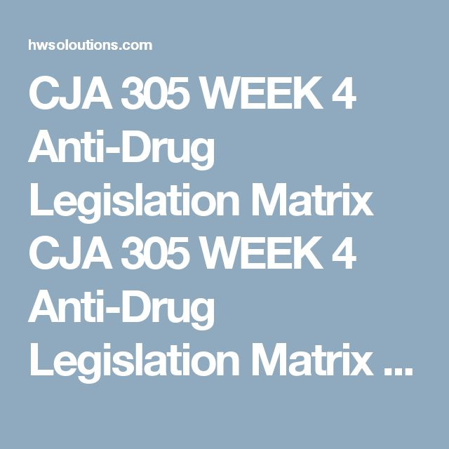 CJA 305 WEEK 4 Anti-Drug Legislation Matrix CJA 305 WEEK 4 Anti-Drug Legislation Matrix CJA 305 WEEK 4 Anti-Drug Legislation Matrix Anti-Drug Legislation Matrix  Complete the matrix by selecting three states to add below Federal. Then, answer each question listed in the first row for each corresponding law.  Is marijuana illegal? What are the penalties for possession of cocaine? What are the penalties for possession of heroin? What are the penalties for possession of prescription drugs? What…