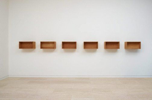 MINIMALISM  Donald Judd    (United States of America 1928–1994)    Title      Untitled   Year      1975  Media category      Installation   Materials used      Douglas Fir plywood in six units  Dimensions        6 units: 30.5 x 61.0 x 35.5cm each; 30.5 x 518.5 x 35.5cm installed