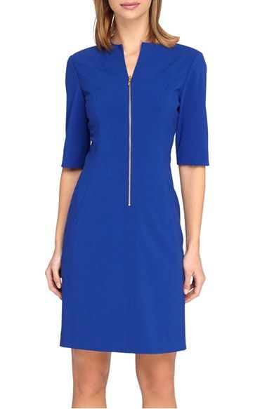Tahari Front Zip Stretch Sheath Dress (Regular & Petite) available at #Nordstrom