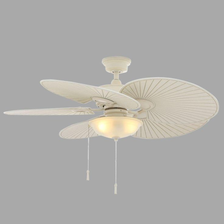 White wicker ceiling fan with light