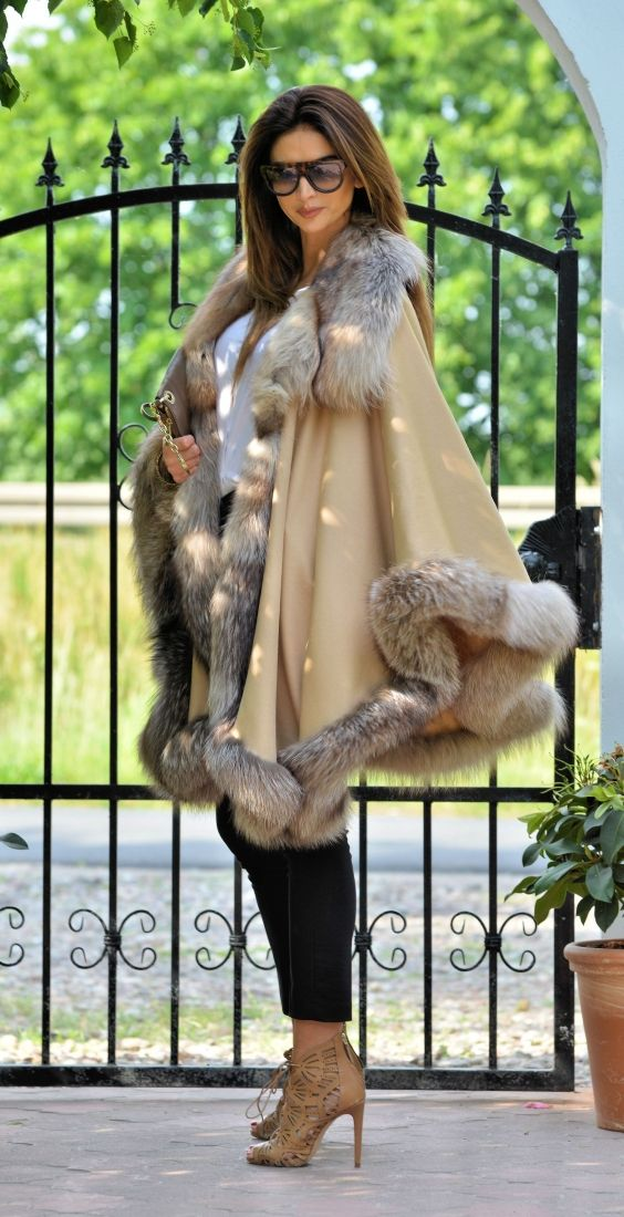 fox furs - cashmere silver fox fur poncho                                                                                                                                                                                 More