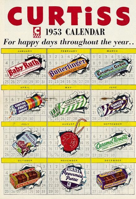 For happy day throughout the year...Curtiss Candy Bars (1953).