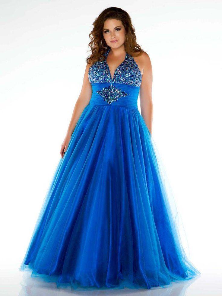 Mac Duggal 4976 Ocean Blue Prom Pageant Ball Gown Dress sz 18W