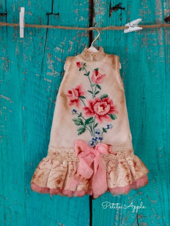 """Blythe doll outfit """"Great grandma's attic"""" grunge chic vintage petit point embroidered dress by marina, $63.00 USD"""