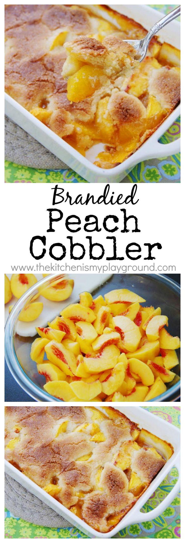 Brandied Peach Cobbler ~ the absolute BEST peach cobbler! www.thekitchenismyplayground.com